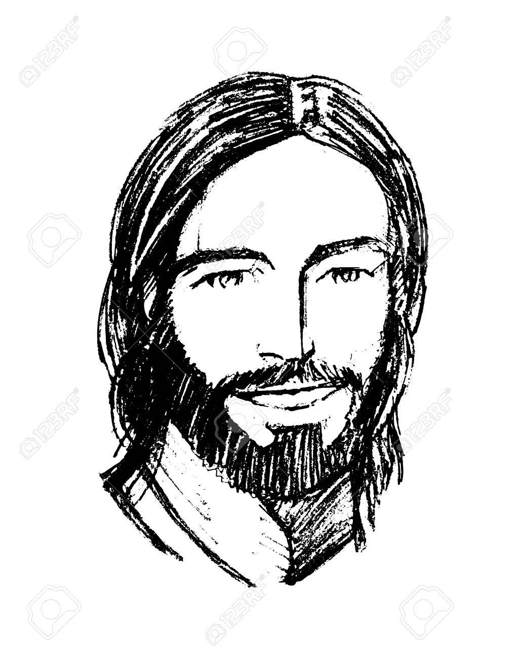 1039x1300 Hand Drawn Vector Illustration Or Drawing Of Jesus Christ Smiling