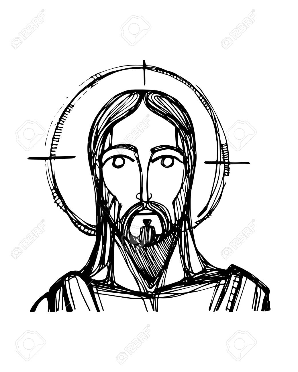 1040x1300 Hand Drawn Vector Ink Illustration Or Drawing Of Jesus Christ