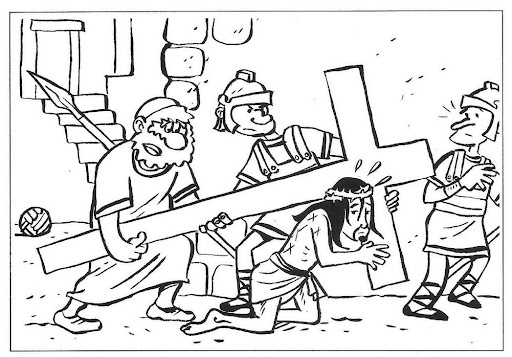 512x357 Drawings To Color Easter Week Jesus Carrying The Cross Coloring