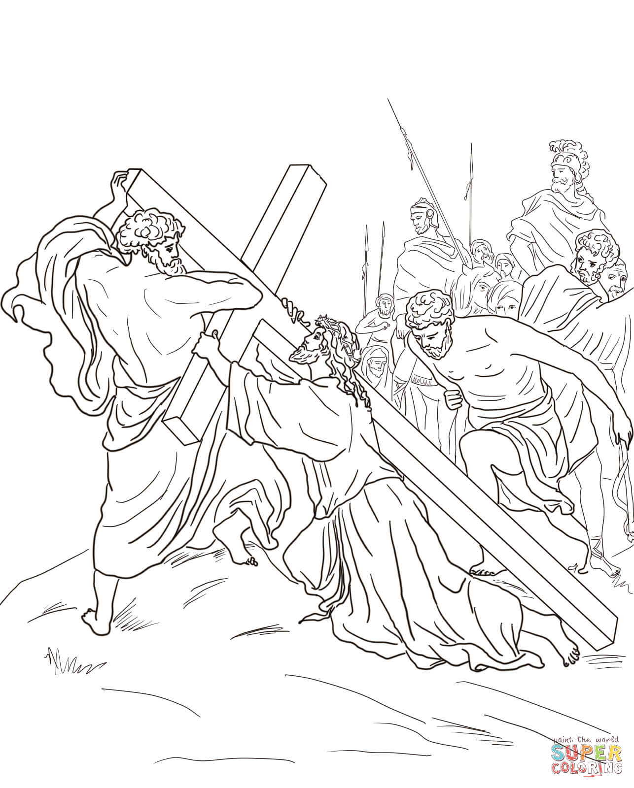 Jesus Carrying Cross Drawing at GetDrawings.com | Free for personal ...
