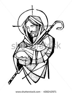 236x308 Hand Drawn Vector Illustration Or Drawing Of Jesus Christ Carrying