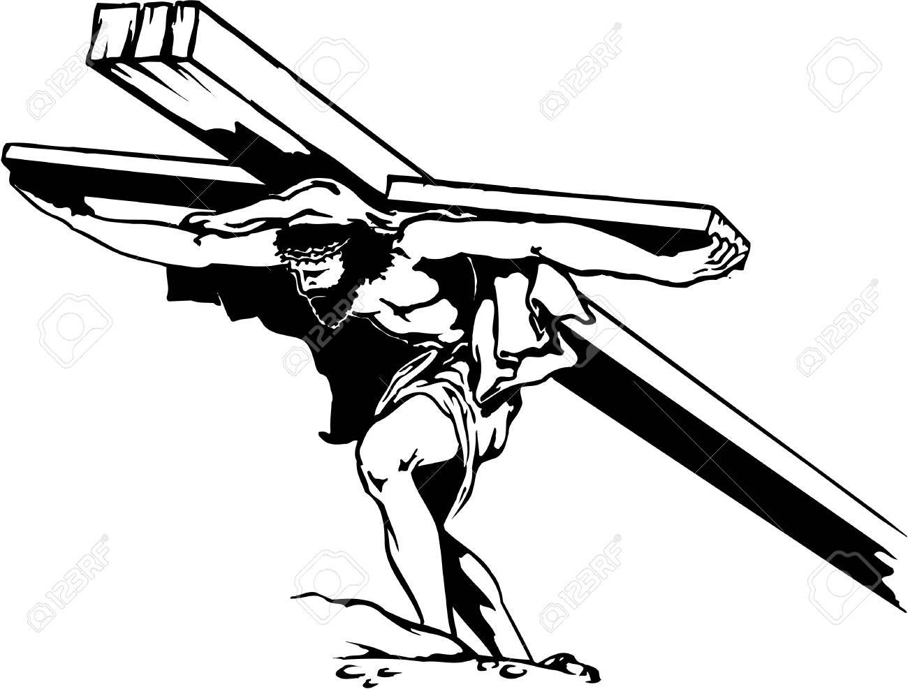 1300x987 Jesus Carrying Cross Illustration Royalty Free Cliparts, Vectors