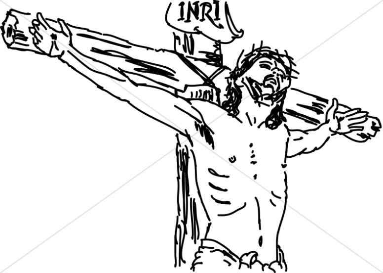 776x552 Line Drawn Christ On Inri Cross Good Friday Clipart