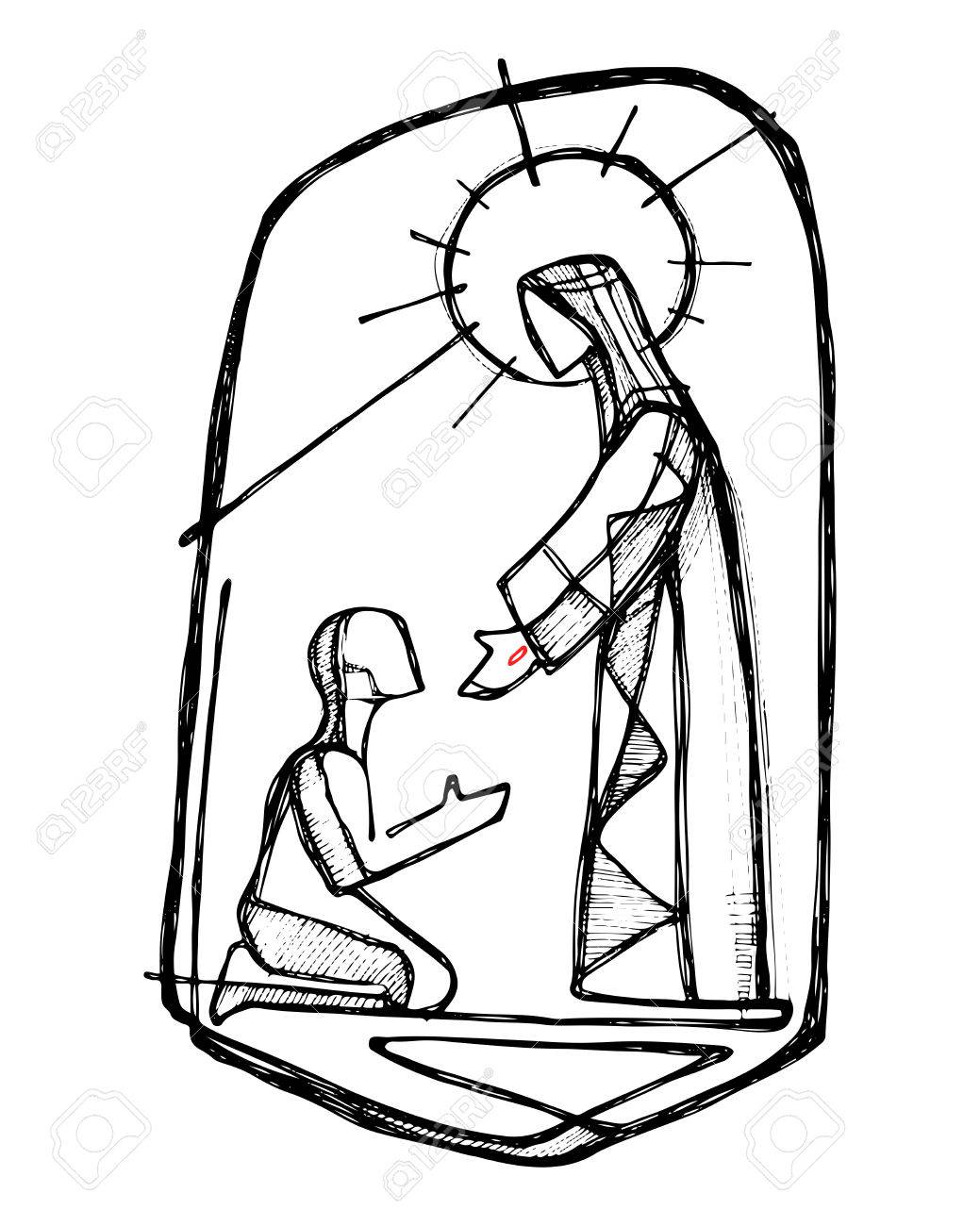 1039x1300 Hand Drawn Vector Illustration Or Drawing Of Jesus Christ Healing
