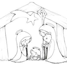 236x236 Nativity, Jesus Nativity In Cartoon Depiction Coloring Page Jesus