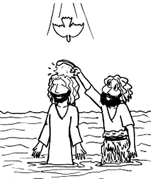 600x711 Cartoon Jesus Baptism In John The Baptist Coloring Page
