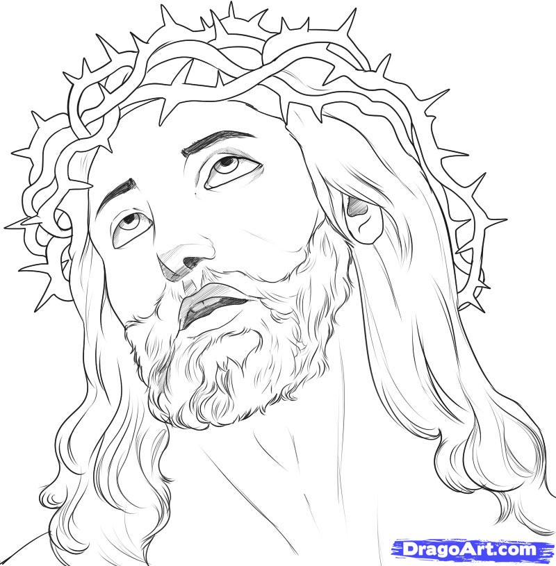 800x815 Tattoo Sketches And Drawings How To Draw Jesus, Step By Step