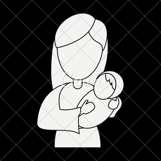 550x550 Virgin Mary Holding Baby Jesus Cartoon