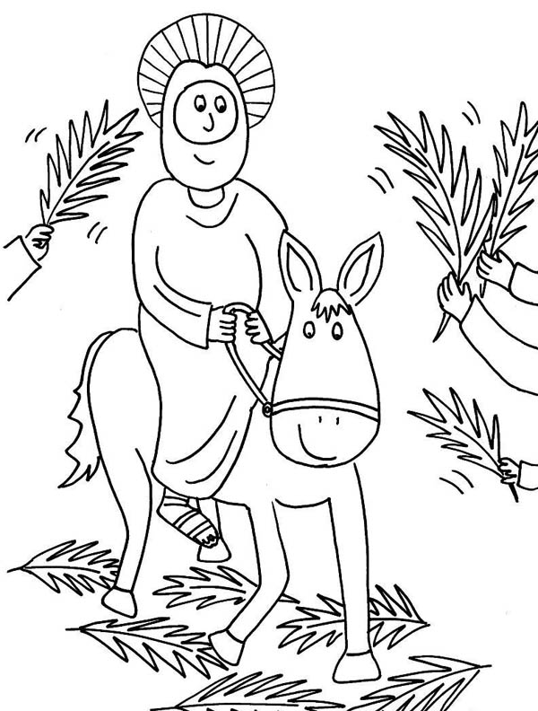 600x792 Cartoon Of Jesus Rode A Donkey In Palm Sunday Coloring Page