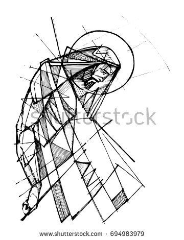 360x470 Hand Drawn Ink Vector Illustration Or Drawing Of Jesus Christ