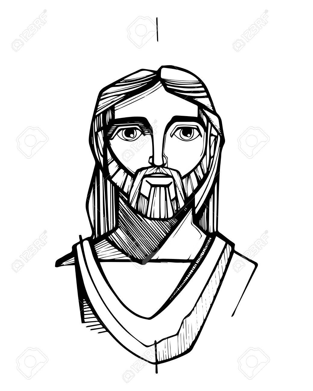 1039x1300 Hand Drawn Vector Illustration Or Drawing Of Jesus Christ Face