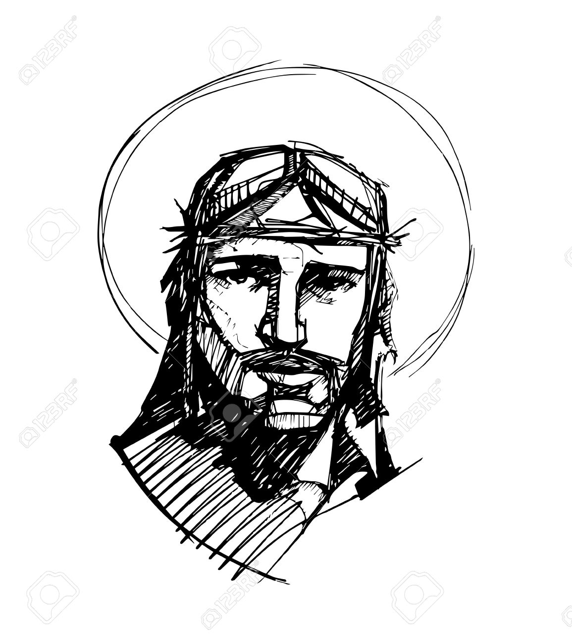 1155x1300 Hand Drawn Vector Illustration Or Drawing Of Jesus Christ