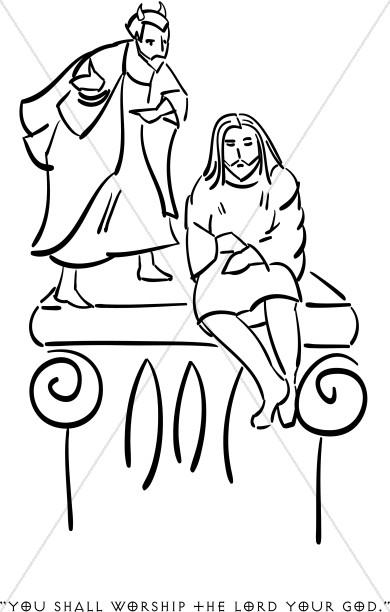 390x612 Satan Tempts Jesus Temptation Of Christ Clipart