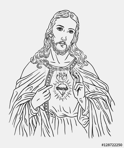 420x500 Jesus Christ Catholic Religion Art Line Drawing Style. Good Use