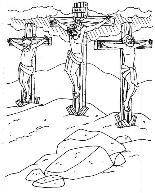 500x623 Jesus On The Cross Coloring Pages