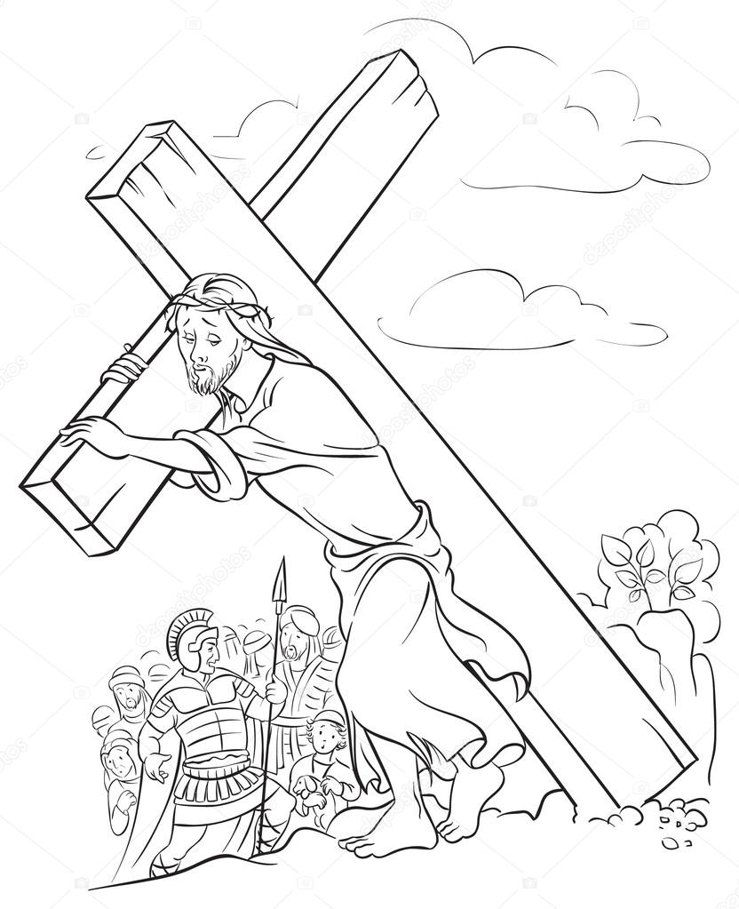 832x1023 Black And White Illustration Of Jesus Christ Carrying Cross