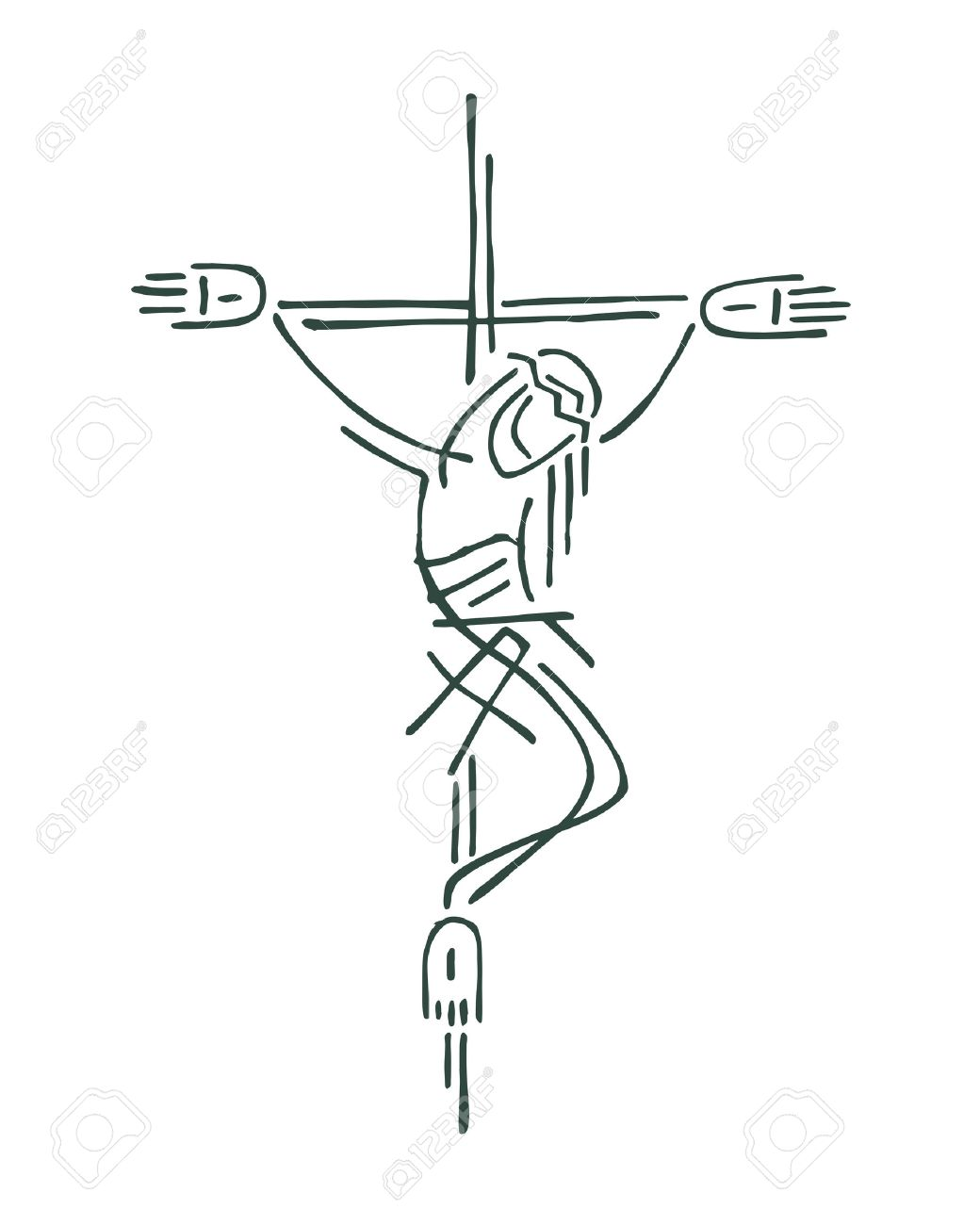 1040x1300 Hand Drawn Vector Illustration Or Drawing Of Jesus On The Cross