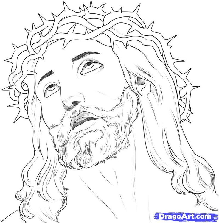 735x749 Pictures How To Draw Jesus Face,