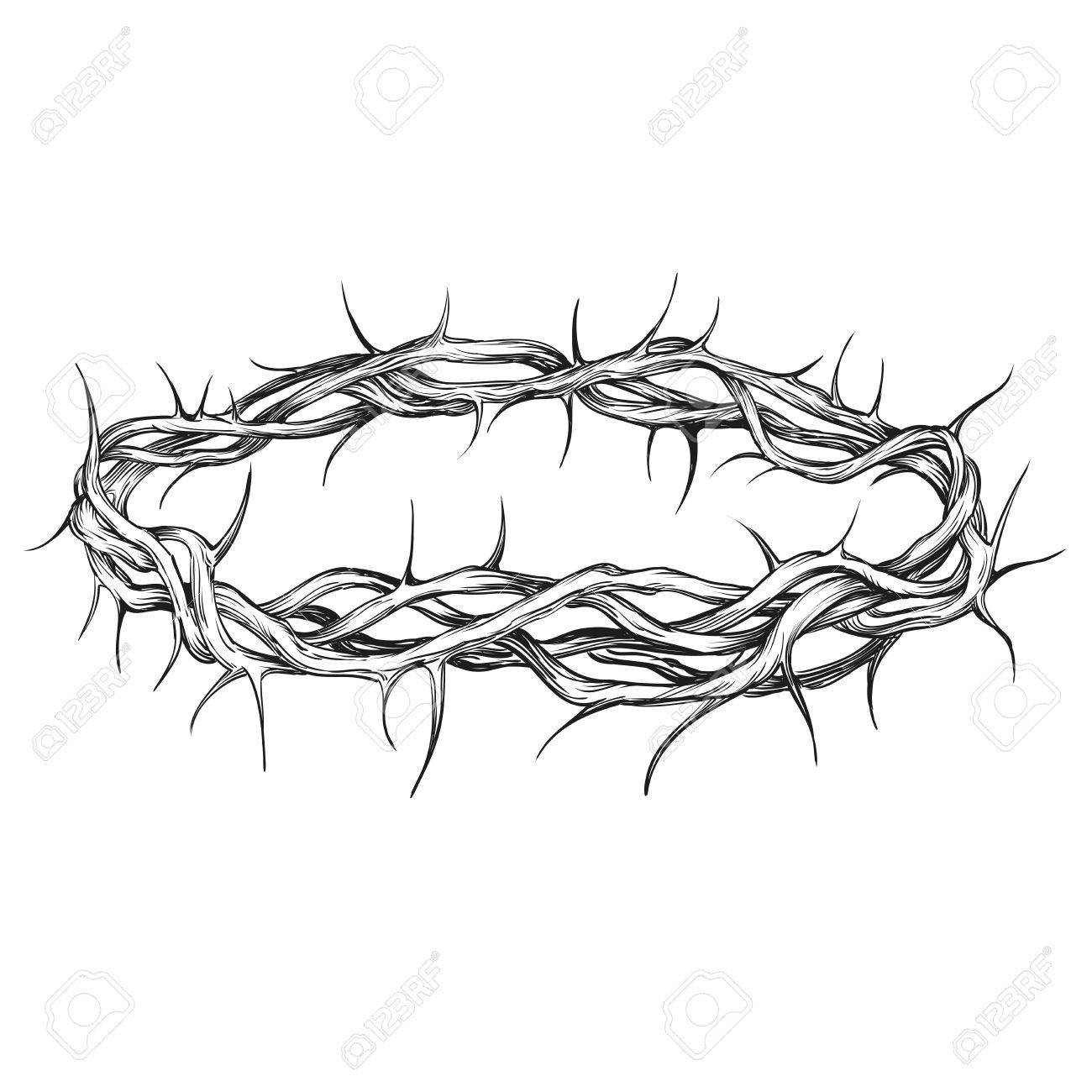 1300x1300 Crown Of Thorns Religious Symbol Hand Drawn Vector Illustration