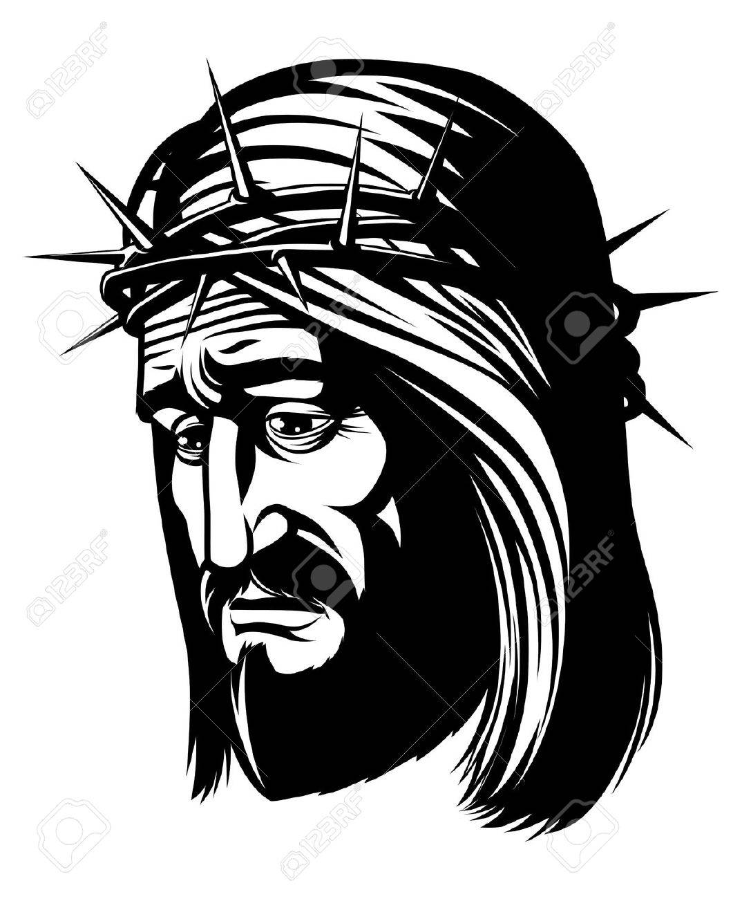 1074x1300 Isolated Portrait Of Jesus With Crown Of Thorns Stock Photo