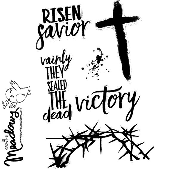 570x567 Risen Savior Cross Easter Crown Of Thorns Jesus Stamps Faith