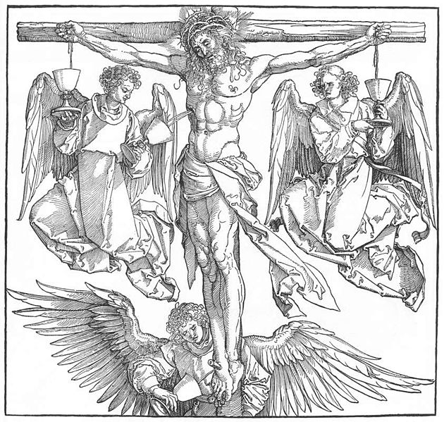 630x599 Christ On The Cross With Three Angels. Durer. 1523 1525. Woodcut