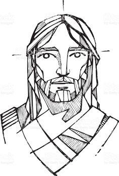 236x349 Jesus Christ Face Vector Art Illustration Jesus Saves