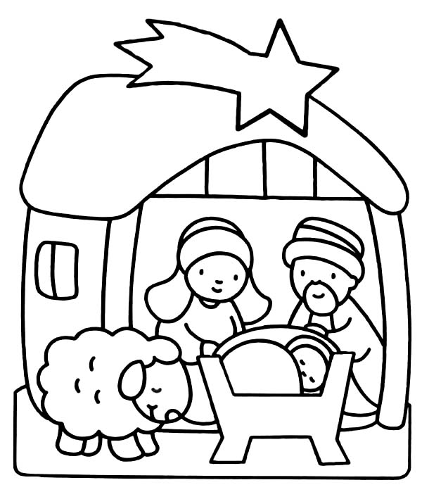 600x699 Baby Jesus Coloring Page In Humorous Print Kids Pages