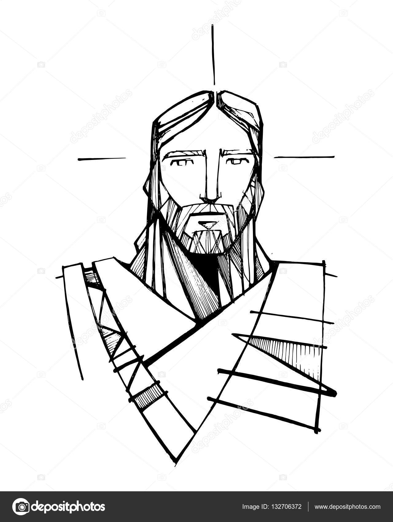 1280x1700 Jesus Christ Face Illustration Stock Vector Bernardojbp