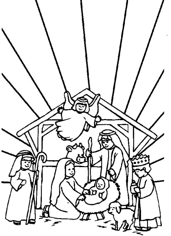 600x829 Bible Story Of The Born Of Jesus In Nativity Coloring Page Color