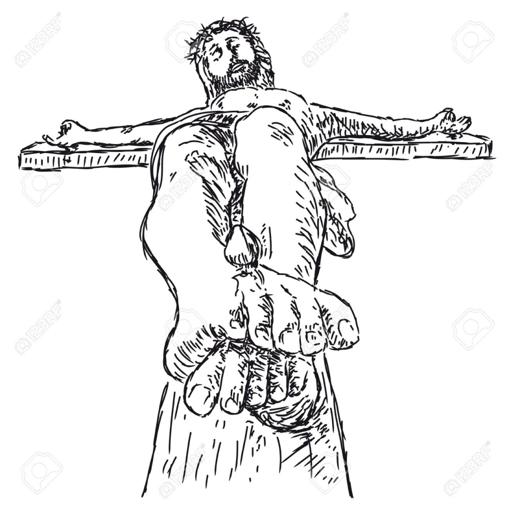 1024x1024 Pencil Drawings Of Jesus On The Cross Sketch Crucifix Stock Photos