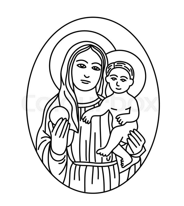 713x800 Virgin Mary With Baby Jesus Sketch Drawing, Art Line Vector Design