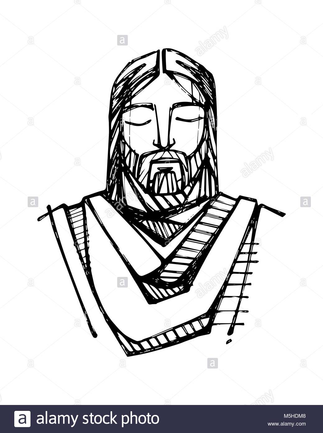 1039x1390 Hand Drawn Illustration Drawing Jesus Black And White Stock Photos
