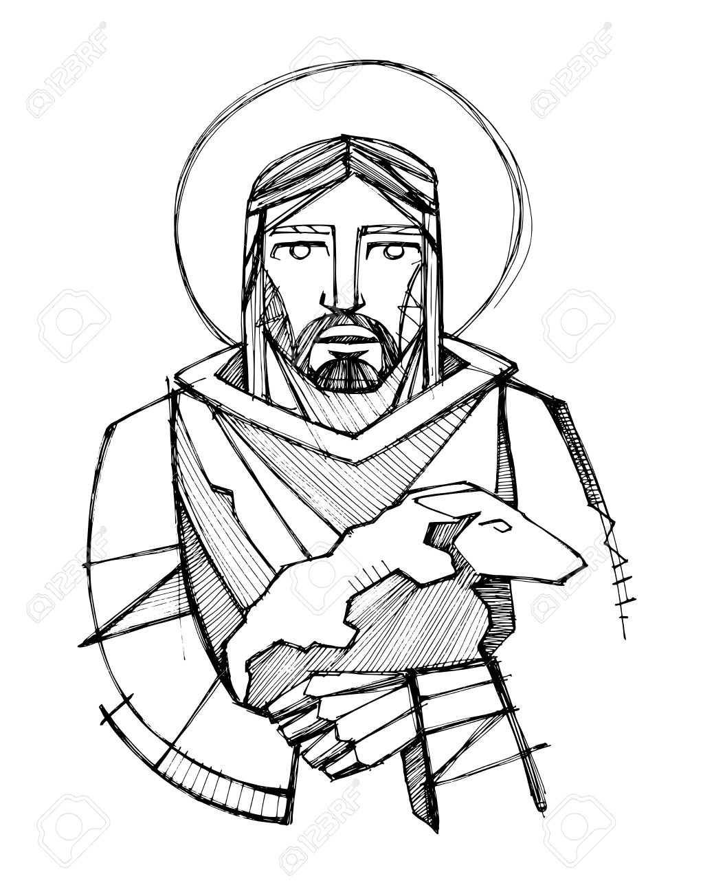 1039x1300 Hand Drawn Vector Illustration Or Drawing Of Jesus Christ As