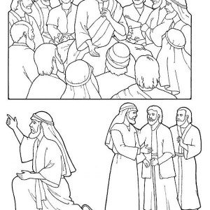 300x300 Jesus Christ And Disciples In Pentecost Coloring Page Coloring Sun