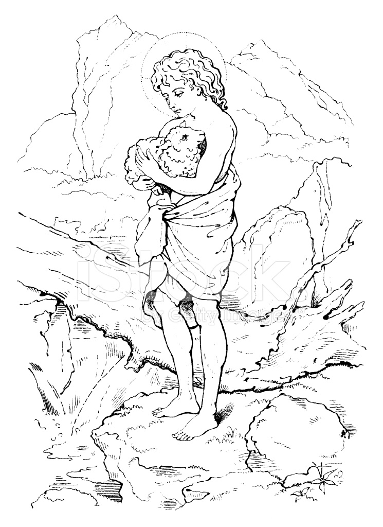 745x1024 Young Jesus Carrying A Lamb Victorian Drawing Stock Vector