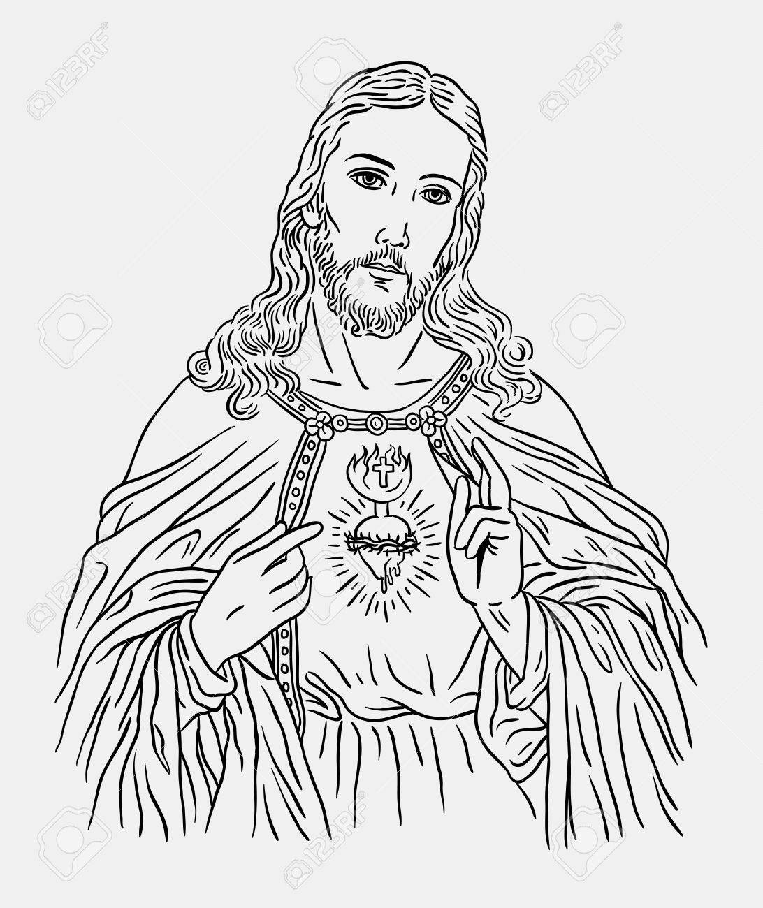 1092x1300 Jesus Christ Catholic Religion Art Line Drawing Style. Good Use
