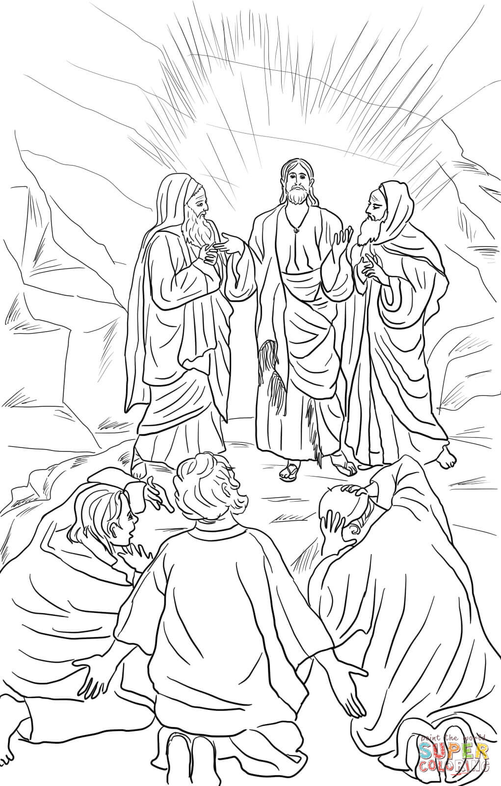 1021x1600 Jesus Transfiguration Coloring Page Free Printable Pages