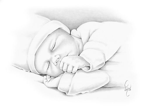500x385 Early Infant Loss Remembrance Pencil Portraits Drawing