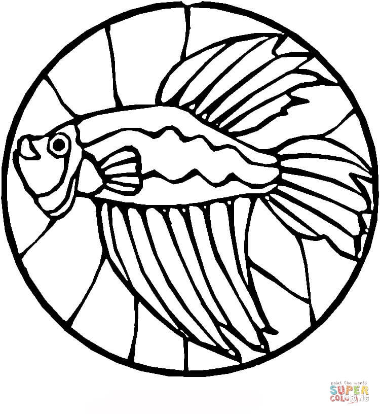 750x816 Stained Glass With Fish Coloring Page