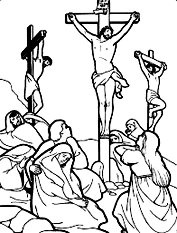 600x787 Good Friday Coloring Pages Everybody Sad Watching Crucifixion