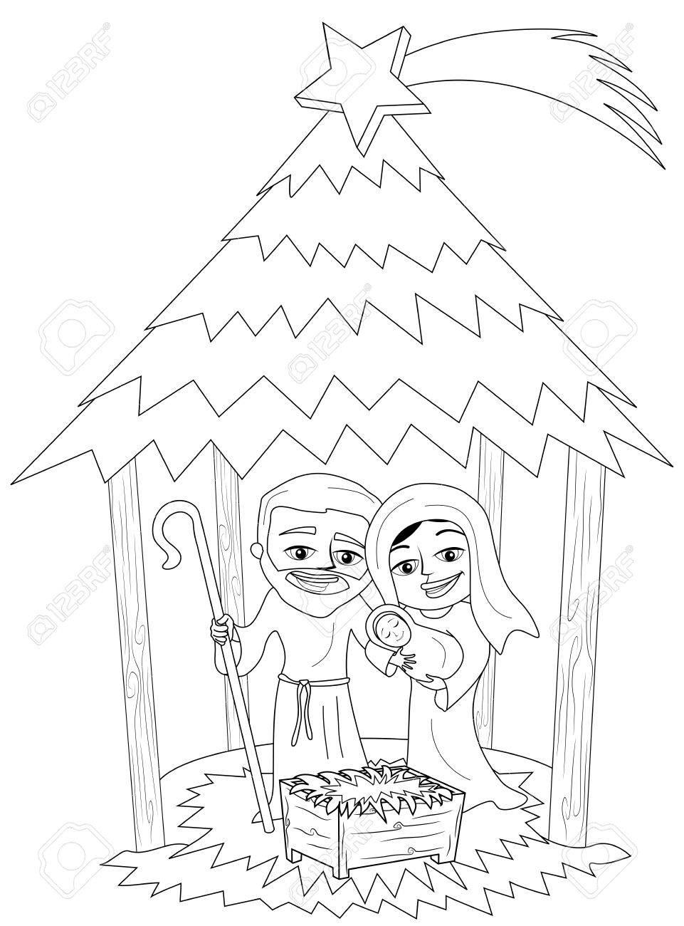 961x1300 Christmas Nativity Scene With Joseph And Mary Holding Newborn