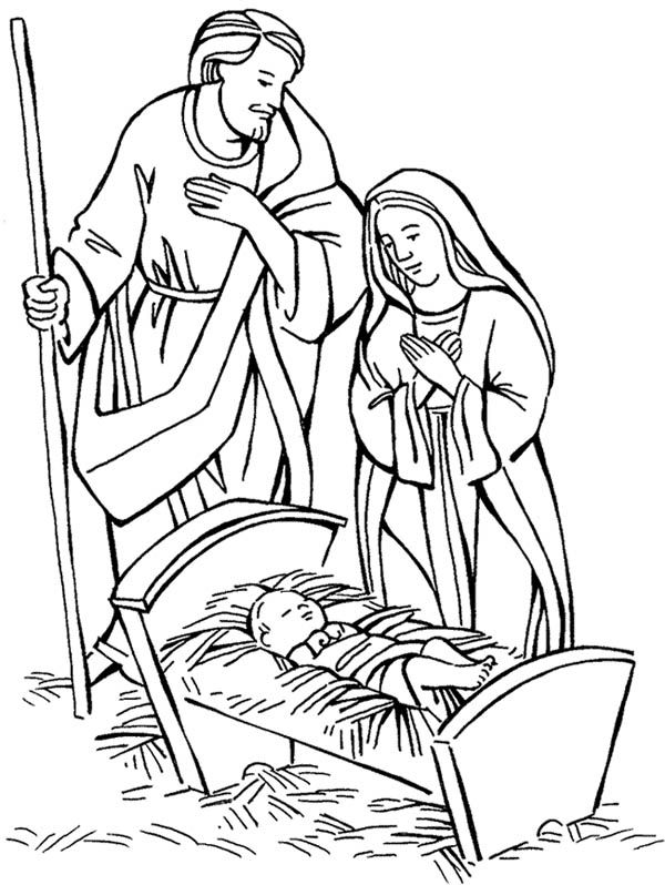 Jesus manger drawing at free for for Coloring pages baby jesus in manger