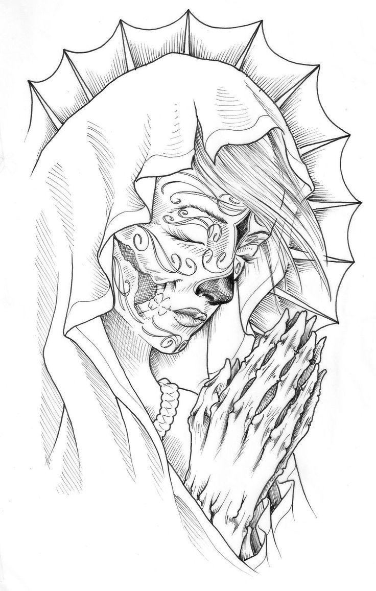 736x1157 Religious Jesus Virgin Mary Tattoo Flash Liner Art Sketch 57.jpg