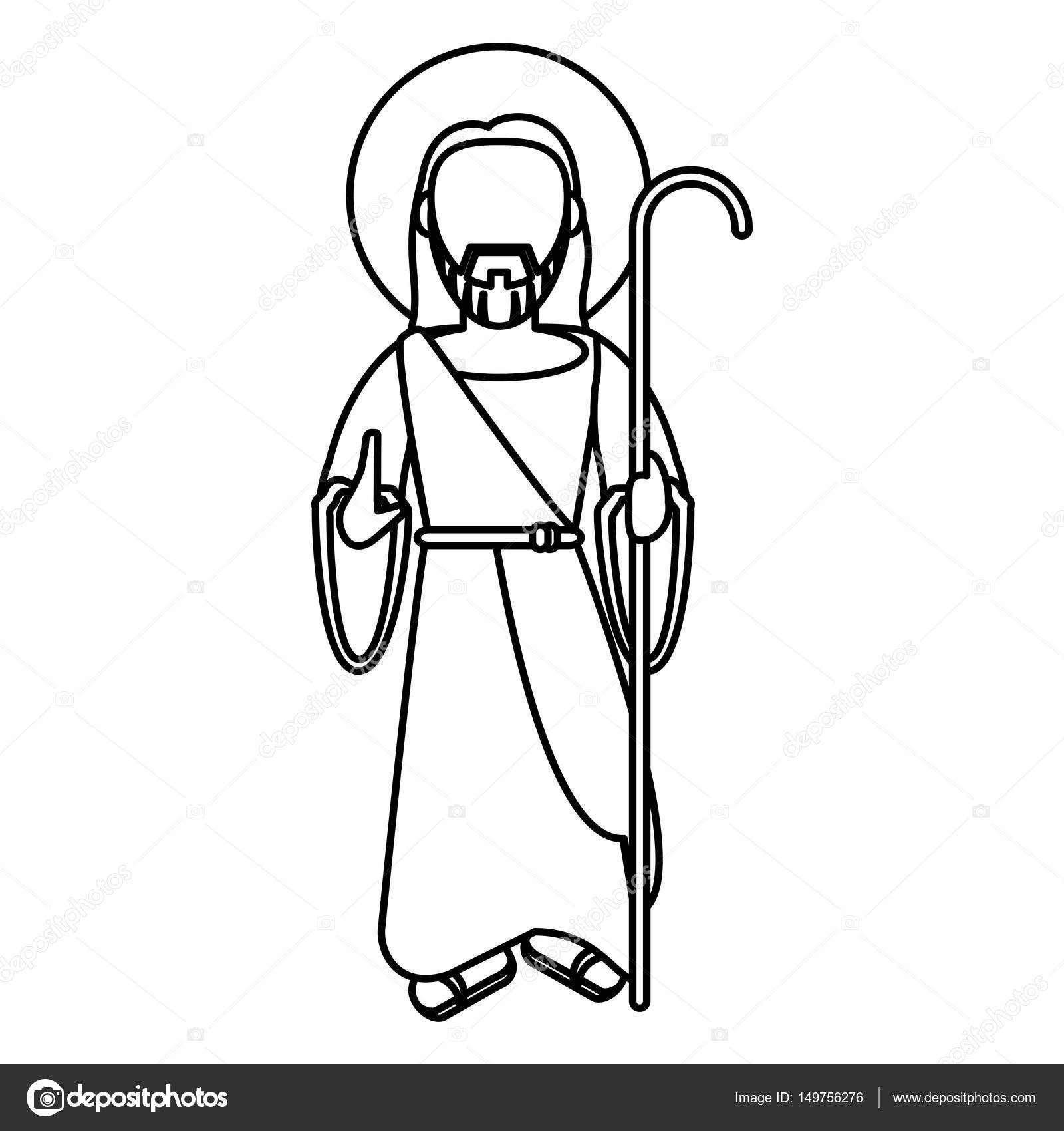 1600x1700 Jesus Christ Blessed With Stick Outline Stock Vector Jemastock