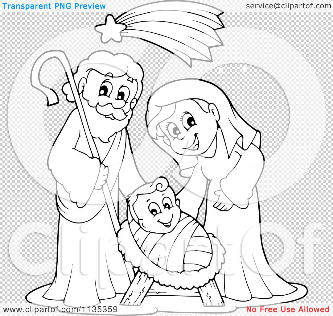 1080x1024 Cartoon Of An Outlined Joseph Virgin Mary And Baby Jesus Nativity