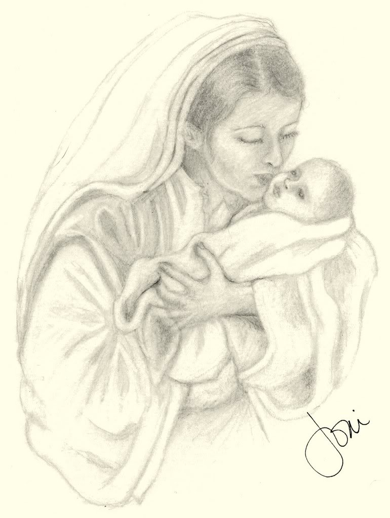 770x1024 Best Sketches Of Mothers Love Mary And Baby Jesus Drawing