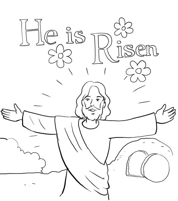 600x677 He Is Risen In Jesus Resurrection Coloring Page