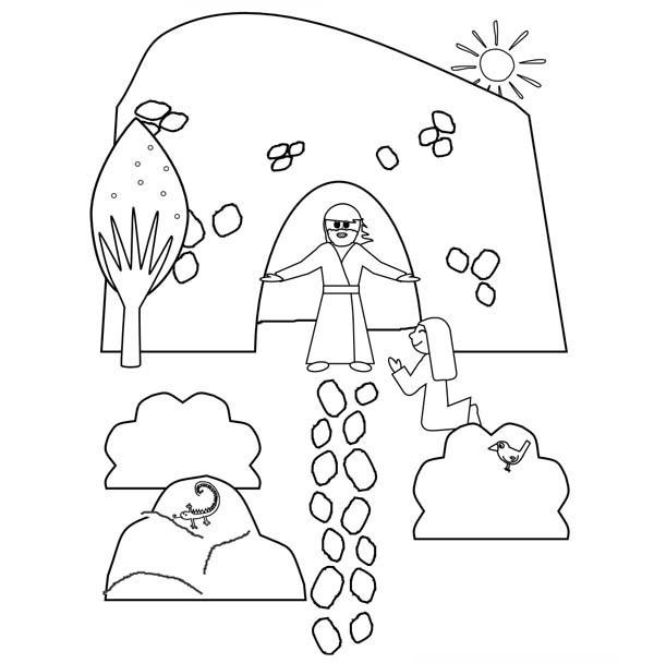 600x608 jesus resurrection from tomb where he buried coloring page