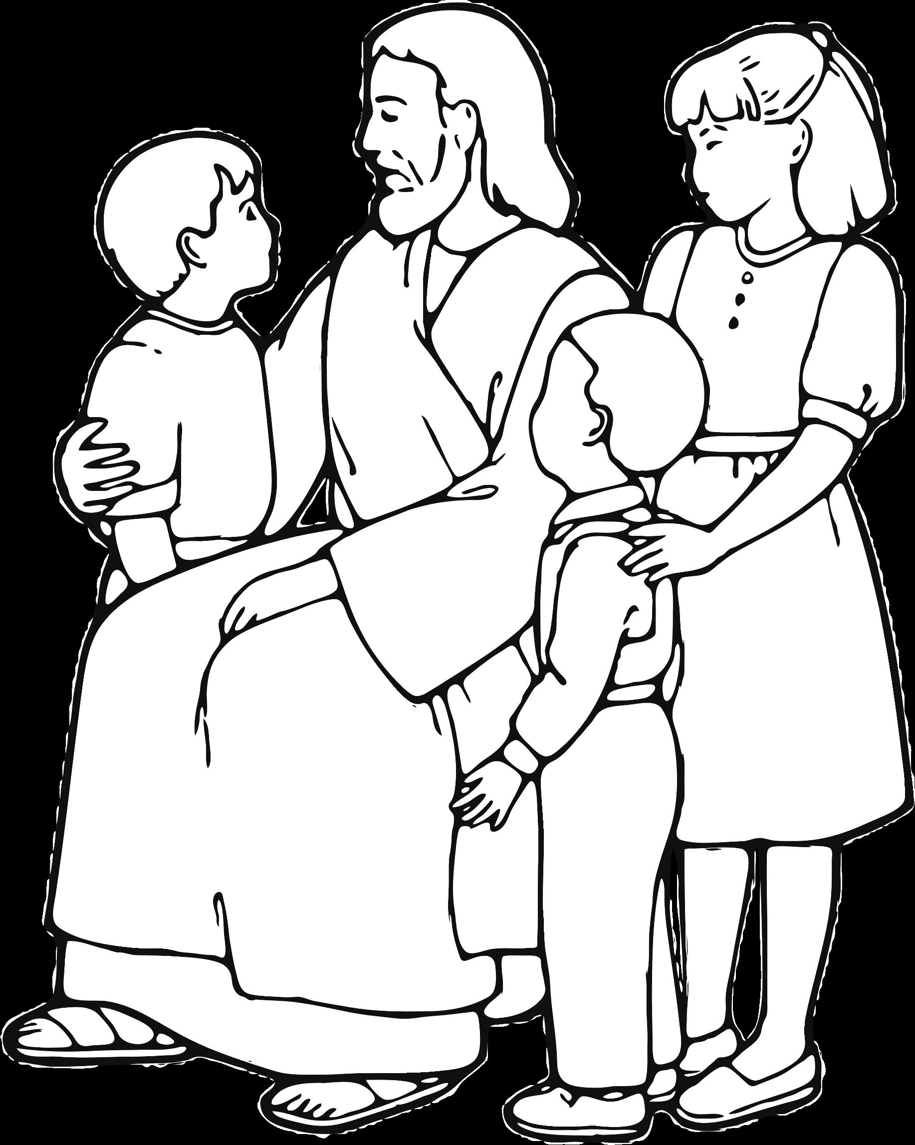 1834x2295 Jesus Teaching Children Line Art By @gdj, From Pixabay.,